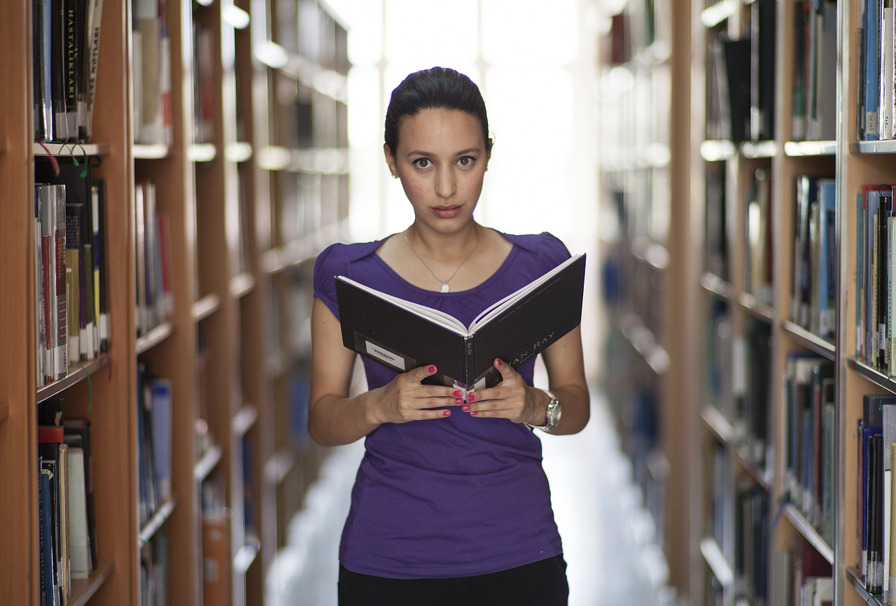 woman, library, book