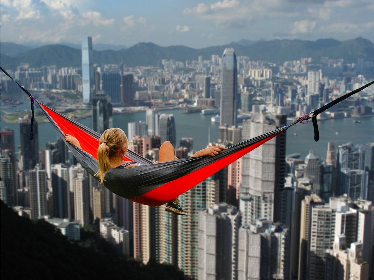 Hong KOng panorama, girl, hammock